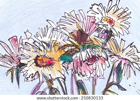 Daisies Summer bouquet watercolor painting illustration poster print - stock photo