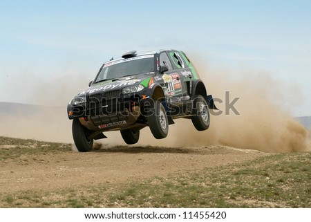 Dakar rally winner Bruno Saby testing for Central Europe Rally in Veszprem, Hugary. - stock photo