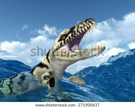 Dakosaurus in the stormy ocean Computer generated 3D illustration - stock photo