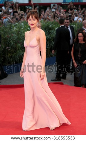Dakota Johnson at the premiere of Black Mess at the 2015 Venice Film Festival. September 4, 2015  Venice, Italy  - stock photo
