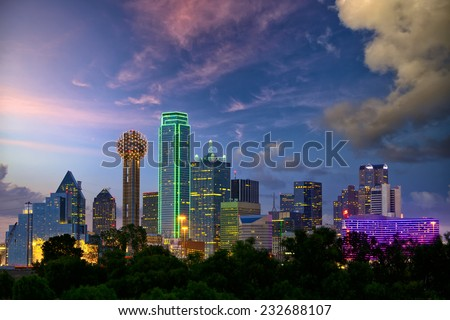 Dallas City skyline at twilight, Texas, USA - stock photo