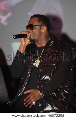 "DALLAS - FEBRUARY 12: Rapper Sean ""Diddy"" Combs performs at the Palladium Ballroom for a NBA All Star Weekend event February 12, 2010 in Dallas, Texas. - stock photo"