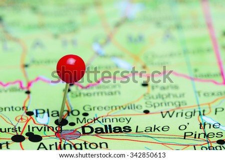 Dallas pinned on a map of USA  - stock photo