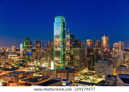 Dallas, Texas cityscape with blue sky at sunset, Texas - stock photo
