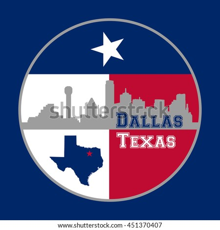 Dallas Texas montage, includes state flag, Dallas city skyline, shape of state with star on the location of Dallas - stock photo