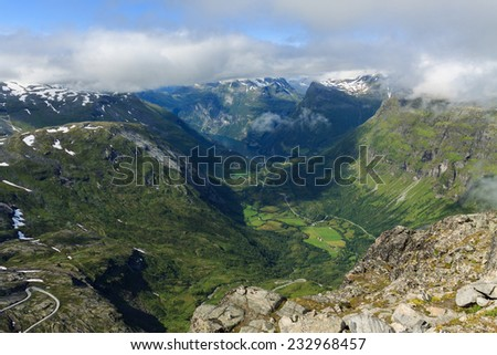 Dalsnibba panoramic viewpoint, Geirangerfjord, Norway - stock photo