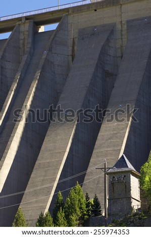 dam detail in Cavallers, Pyrenees,  Spain - stock photo