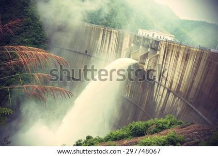 Dam discharge flood water,china - stock photo