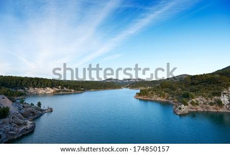 Dam lake Barrage de Bimont near Aix en Provence and Saint Victoire mountain - stock photo