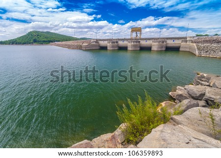 Dam of hydroelectric power plant in Thailand, The water in the dam and water gate - stock photo