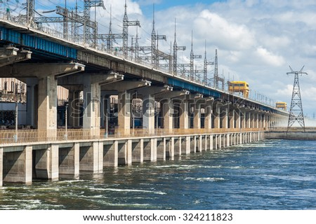 Dam of hydroelectric power plant in Volgograd Russia - stock photo