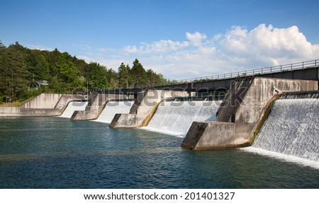 Dam of the hydro power sation on tghe Rhine river - stock photo