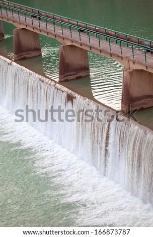 dam (Reservoir) construction on river  - stock photo