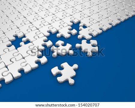 Damaged assembling of puzzle. 3D Illustration on blue background - stock photo