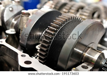 Damaged crankshafr from motorcycle engine. - stock photo