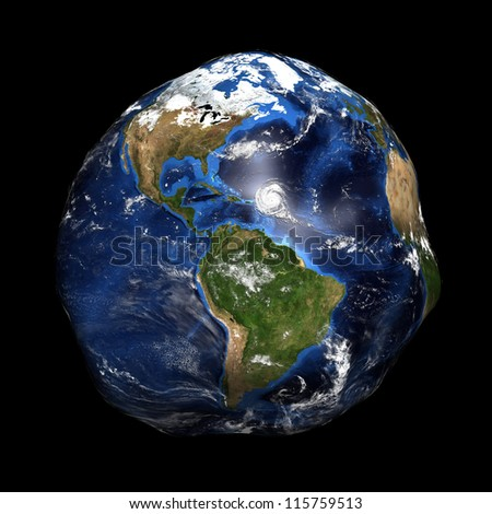 Damaged Earth showing America. Extremely detailed image, including elements furnished by NASA. - stock photo