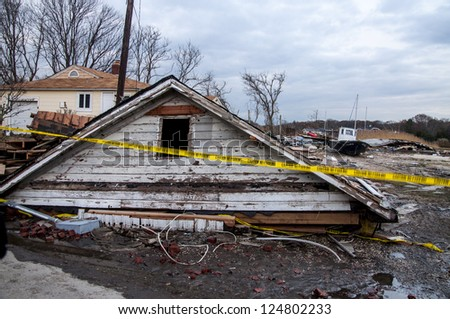 Damages caused by hurricane Sandy on Long Island - stock photo