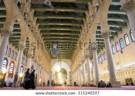 Damascus, Syria - Historical Omayyad Mosque interior view - stock photo