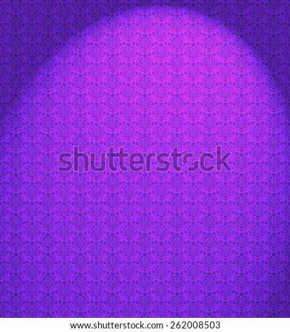Damask Floral Wallpaper Pattern rich purple with spotlight - stock photo