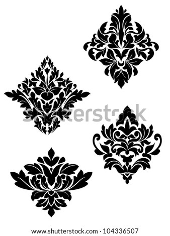 Damask flower patterns for design and ornate isolated on white. Vector version also available in gallery - stock photo