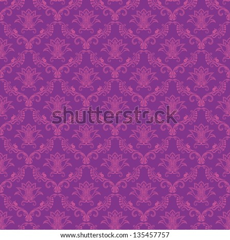 Damask seamless floral pattern. Flowers on a purple background. - stock photo