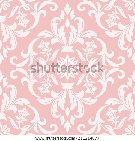 Damask seamless floral pattern. Royal wallpaper. Flowers on a pink background. - stock photo