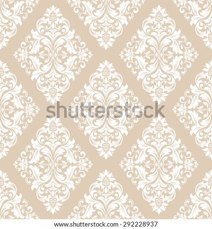 Damask seamless pattern background. Elegant luxury texture for wallpapers, backgrounds. Floral ornament. - stock photo