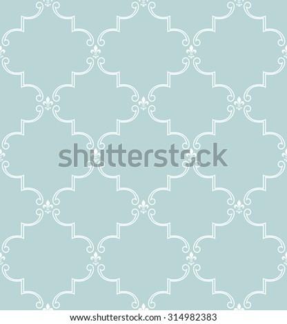 Damask seamless pattern. Royal wallpaper. Blue and white ornament - stock photo