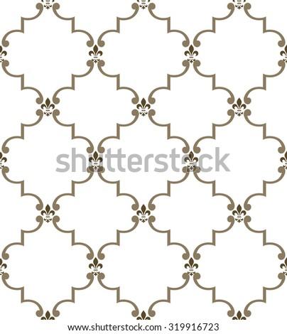 Damask seamless pattern. Royal wallpaper. White and gold ornament - stock photo