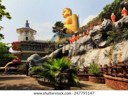 DAMBULA CAVES, greatest buddhistic landmarks - Dambula golden temple , Sri lanka - stock photo