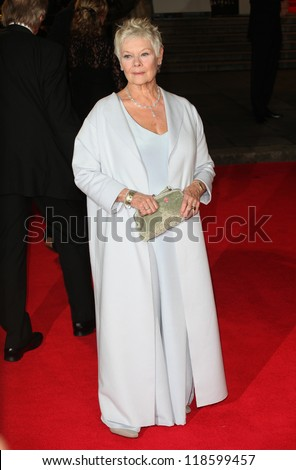 Dame Judi Dench arriving for the Royal World Premiere of 'Skyfall' at Royal Albert Hall, London. 23/10/2012 Picture by: Alexandra Glen - stock photo