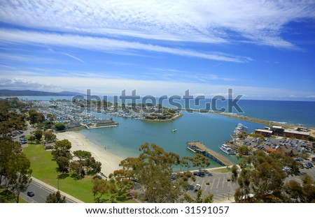 Dana Point Harbor taken in HDR from the hills above. - stock photo