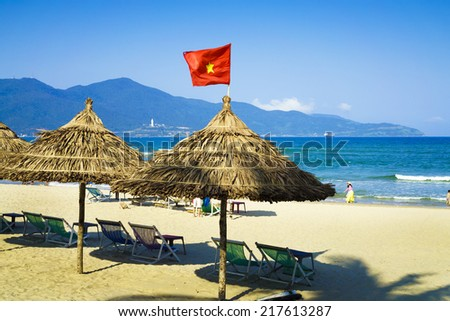Danang beach stretching nearly 60km with public beaches and private beach (usually located in the resort of Da Nang) interconnected together very nice. - stock photo
