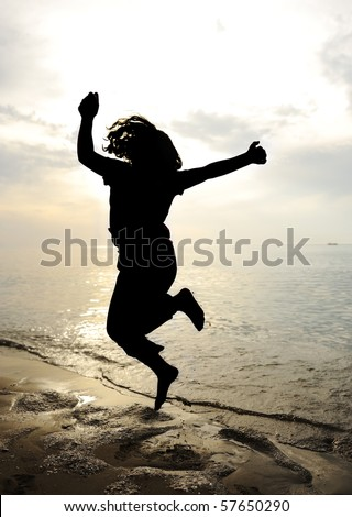 Dance and jump, silhouette - stock photo
