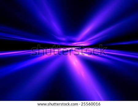 Dance Neon Comets - 3D fractal landscape - stock photo