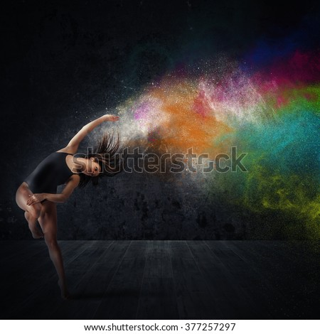 Dance with colored pigments - stock photo