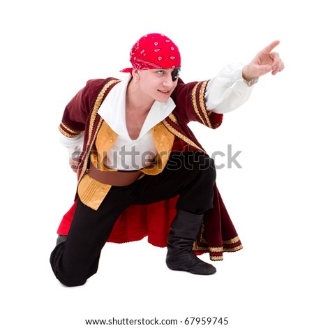dancer dressed as pirate seated posing against isolated white background - stock photo