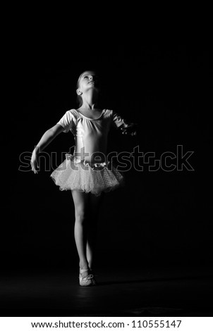 dancer express her feelings over dance/Black and White image of dancer - stock photo