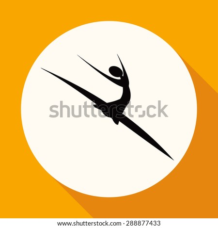dancer icon on white circle with a long shadow - stock photo