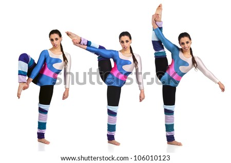 Dancer in different poses against a white background - stock photo