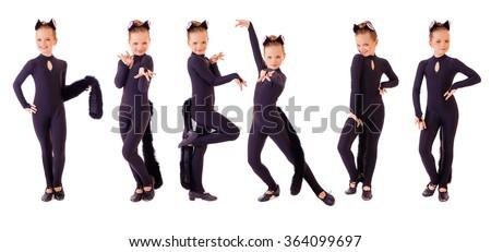 Dancer, little girl dressed as black cat. Isolated on white background - stock photo