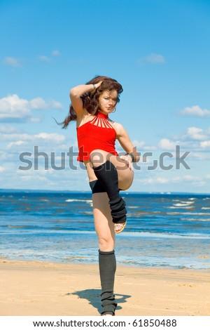 Dancer on a beach - stock photo