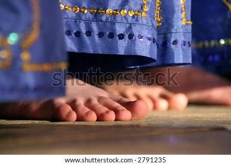 dancer's bare feet - stock photo