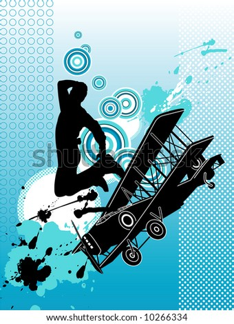 Dancer with airplane. Grunge illustration. - stock photo