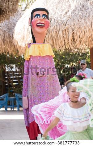 Dancers at a local Mardi Gras type celebration; February 1, 2016; Costa Rica Westin Playa Conchal; Costa Rica; Westin All Inclusive Resort - stock photo
