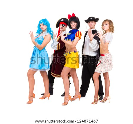 Dancers in carnival costumes posing on a white background - stock photo