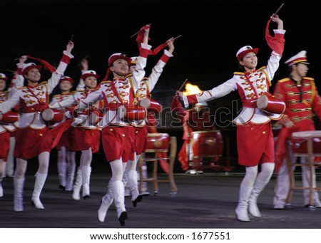 Dancers of the Chinese People's Republican Army - stock photo