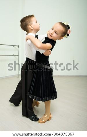 Dancing, ballroom dancing, dance studio, children - stock photo