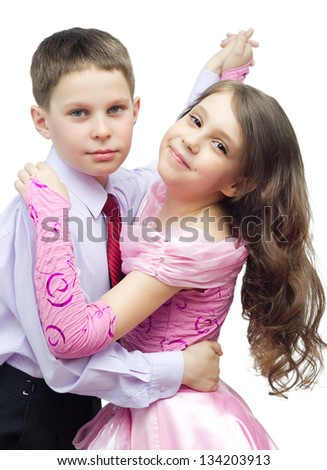 Dancing boy and girl isolated on white - stock photo