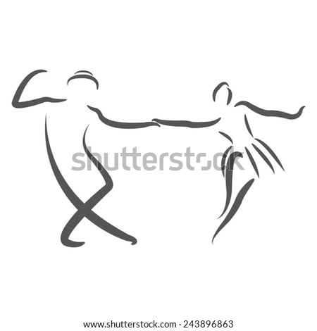 Dancing couple logo. Swing dance. Raster illustration. - stock photo
